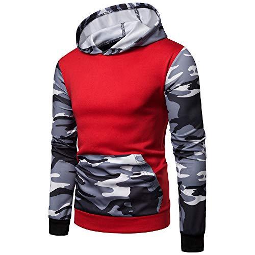 Yvelands Herren Pullover Camouflage Printed Langarm Mit Kapuze Sweatshirt Tops Bluse(EU-46/M,Rot)