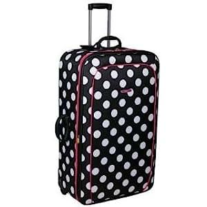 Dunlop Printed Suitcase Black/Wht/Pink 25in/61cm