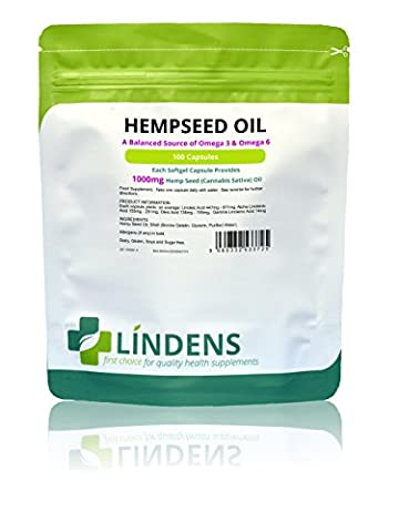 Lindens Hempseed Oil 1000mg 100 Capsules Omega 3 6 9 in perfect balance