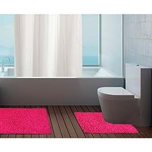 Just Contempo - Set di tappetini da bagno, comprensivo di scendibagno e tappetino per WC, 100% in cotone lavabile, 100% Cotone, set tappetini bagno - Fucsia rosa (in cotone non slip), 50 x 80 cm / 50 x 50cm