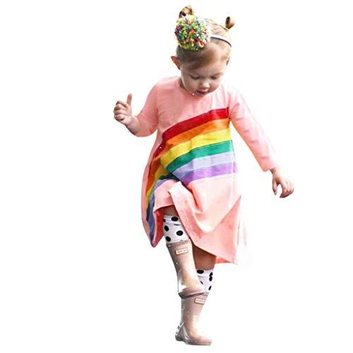 Likecrazy Baby Mädchen Kleid,Langarm Herbst Winter Kleid Kleidung Baby Prinzessin Kleid Kleinkind Kinder Stickerei Kleid Regenbogen Print Kleid