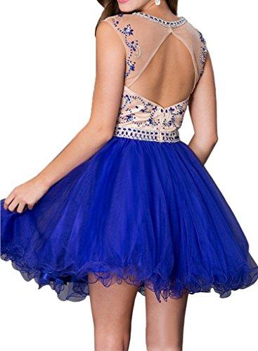 Charmant Damen 2016 Neu Tuell Steine Cocktailkleider Partykleider Abendkleider Kurz Mini Oberhalb von Knie Royal Blau
