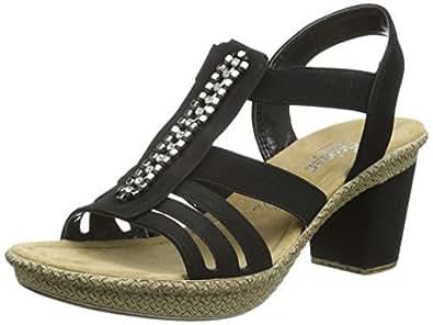 rieker 66584 women open toe damen sandalen schwarz schwarz 00 37 eu schuhe. Black Bedroom Furniture Sets. Home Design Ideas