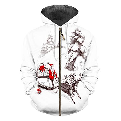 (HensGalis Mann 3D Sweatshirt gedruckt Weihnachten und Weihnachtsmann Winter Lovely Zip Hoodies Black 4XL)