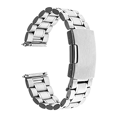 TRUMiRR 18mm Quick Release Watch Band Stainless Steel Strap Bracelet for Huawei Watch, Asus Zenwatch 2 Women's WI502Q, Withings Activite / Steel /