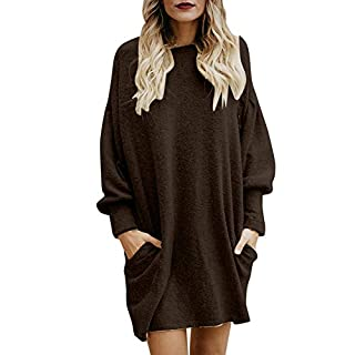 BaZhaHei Women Solid O-Neck Pocket Long Sweater Long Sleeve Casual Loose Pullover Tops Winter Autumn Women Dress T-Shirt Jumper Knitwear