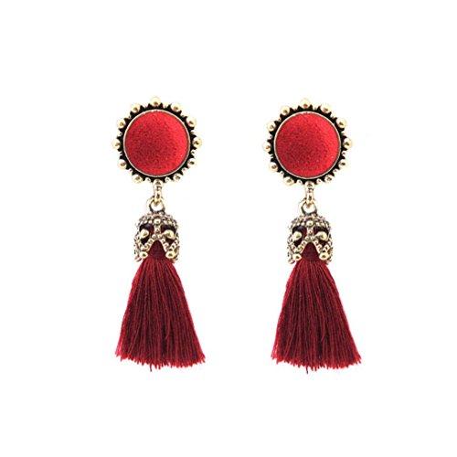 URSING Damen Ohrring mit Quaste Mode Strass Kristall Baumeln Ohrringe Schmuck Vintage Böhmischen Ethnischen Stil Lange Ohrringe Ohrstecker Ohrhaken Ohrhänger Modeschmuck Jewelr (Rot)