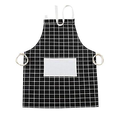 LLRY Damen Schürze aus Baumwollleinen mit praktischer Tasche, langlebige Küchen- und Kochschürze für Frauen, professionell gestreifte Kochschürze zum Kochen, Grillen und Backen