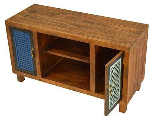 ts-ideen TV-Bank Lowboard HiFi-Schrank Vintage Antik Shabby Design Used Style Massivholz braun zwei Türen mit buntem Muster - 5