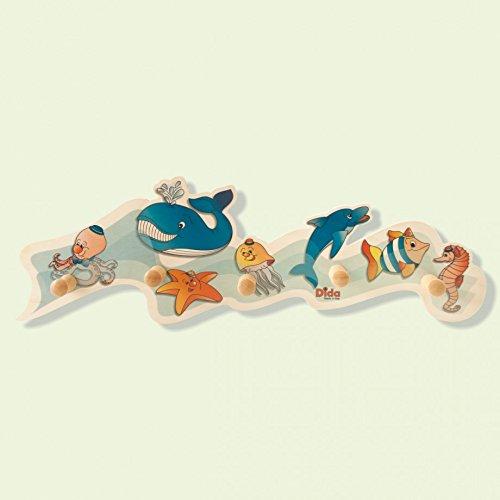 Dida - attaccapanni animali marini in legno per arredare la camera dei bambini
