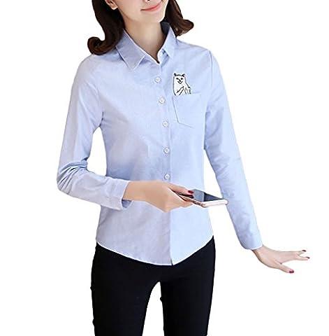Smile YKK Chemise Classique Femme Chemisier T-shirt Blouse Top Manche Longue Chat Broderie Mince Bleu 100cm