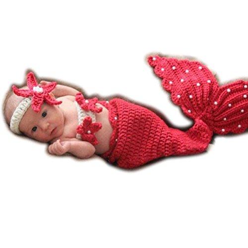 ARAUS Baby Fotografie Requisiten Strickwoll Meerjungfrau Seestern Mädchen -
