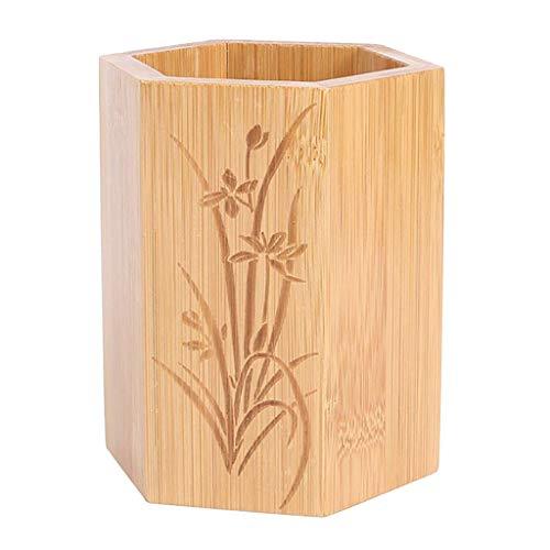 Geschnitzten Tisch (Baoblaze Utensilienhalter Besteckkorb Holz Besteckhalter Besteckständer Besteckabtropfkorb - Sechs Ecken geschnitzt)