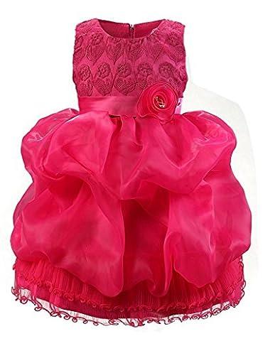 Rosa Kleider Mädchen Blumen Ärmellos Geburtstag BIGTREE 3 Jahre
