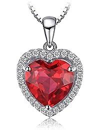 JewelryPalace 3.18ct Creó el collar del colgante de la plata esterlina del zirconia 925 del estilo del corazón de rubíes