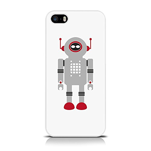 Retro Robot Call Vintage Candy-Cover posteriore per iPhone 5S, colore: grigio, Robot Antenna, colore: rosso, Blue Robot, iPhone 5 Grey Robot