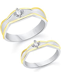 Vk Jewels Single Stone Gold Brass Alloy Cz American Diamond Couple Ring for Men And Women Vkcplfr1044G_10F_20M