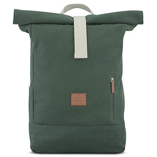Zaino verde donna e uomo - johnny urban adam zainetto con parte superiore pieghevole in tela di cotone - vintage borsa zaino da tutti i giorni 18-22 litri - sacco idrorepellente e flessibile