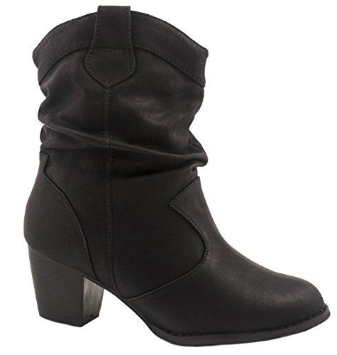 Elara Donna Ankle Boots | alla moda Cowboy Boots | effetto pelle stivaletti Nero
