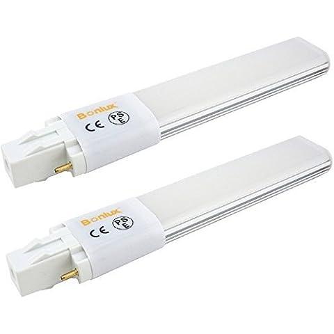 Bonlux 2-Pack luce GX23-2 LED 6W bianco freddo 6000K 180 gradi 13W CFL / Compact Fluorescent sostituzione GX23 2-Pin LED PL Retrofit lampada (Rimuovere / bypass del Ballast)