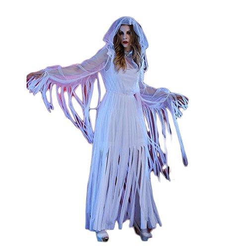 Cosfun Damen Vampir Halloween Kostüm Königinkleid Ghost Braut -