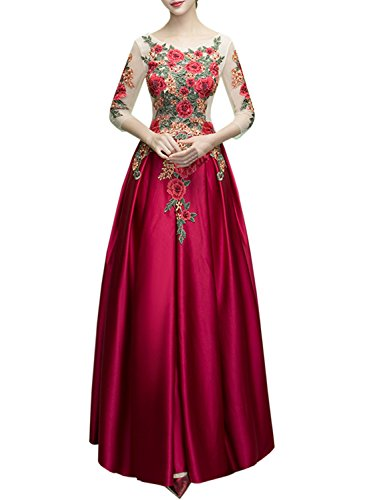 Azbro Women's Elegant Floral Embroidered Floor Length Prom Dress Burgundy