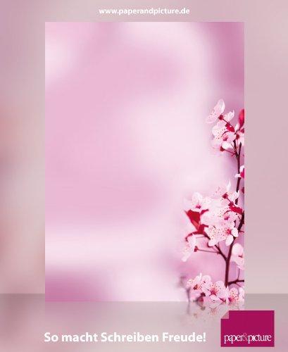 Natur im Frühling Motivpapier Kirschblüten, 20 Blatt Briefpapier DIN A4