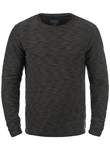 BLEND Caracas Herren Sweatshirt Pullover Sweater mit Rundhals-Ausschnitt aus hochwertiger Baumwollmischung Meliert Black (70155)