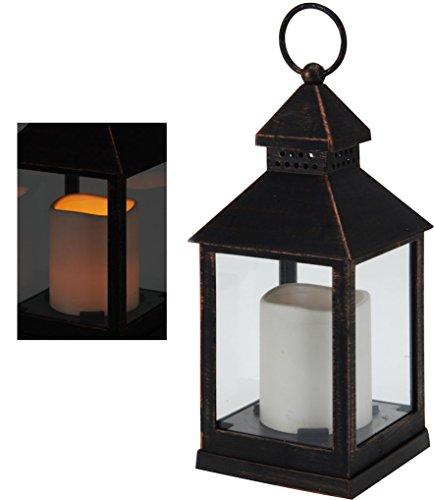 Linterna LED Decoración en acabado Cobre–Incluye LED Vela–Decoración Wind Luz Lámpara Bombilla