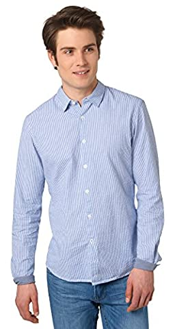 TOM TAILOR DENIM für Männer Shirt / Blouse gestreiftes Hemd aus Seersucker colony fog blue L