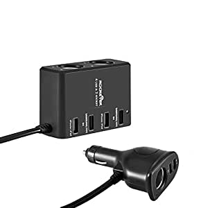 """USB Card Charger Rocketek® 45.5W 3 Socketes Cigarette Lighter Adapter with 6 USB Car Charger Sockets 