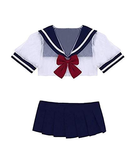 splay Schulmädchen Dessous Set Outfit Mini Sailor Rock mit Crop Top mit Strümpfen ()