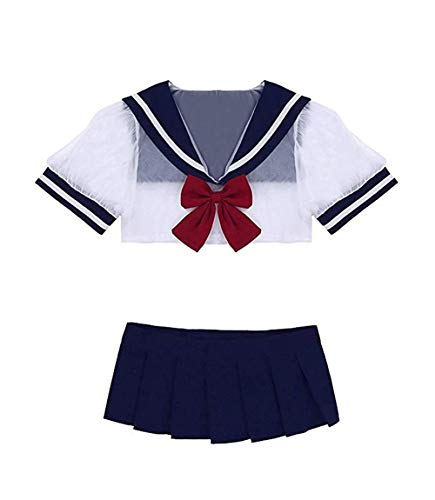 365-Shopping Sexy Cosplay Schulmädchen Dessous Set Outfit Mini Sailor Rock mit Crop Top mit Strümpfen