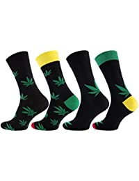 """Lot de 8 paires de chaussettes pour hommes, vêtements décontractés, Motif: feuilles de chanvre - """"365 High"""". Avec du coton riche."""