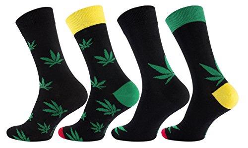 8 Paar Herren Socken Hanf, Baumwoll-Socken mit Blätter-Motiv - 365 High , Gr. 43/46  Schwarz/Grün