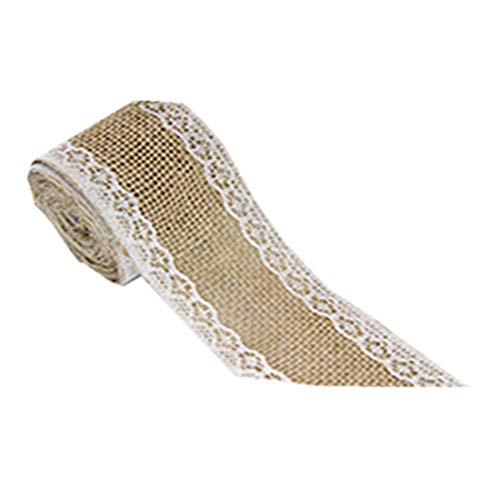 Colorjoy Lace Leinenrolle natürliche Sackleinen Ribbon Twine Roll mit eleganten weißen Spitze Leinenband für Geschenkverpackung Hochzeit Dekor (Sackleinen Ribbon Mit Spitze)