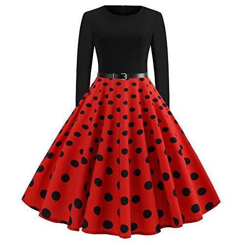 Weihnachten Partykleider Damen Elegant,Riou Weihnachtskleid Langarm Knielang Retro A Linie Abendkleid Cocktailkleid Swing Kleid (S, Rot)