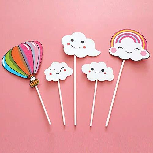 HPPL Kuchen Dekoration Plug-in Wolke Luftballon Regenbogen Brief Alles Gute zum Geburtstag Streamer Backkarte, 33# Luftballon Wolke (Feder-flügel Zum Verkauf)