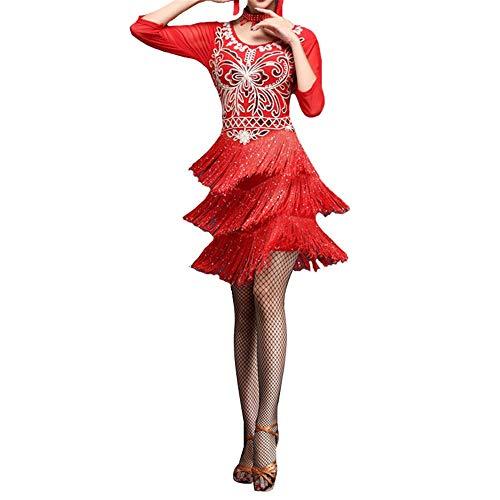 Frauen tanzen Kleider Frauen Funkelnde Pailletten Blume Fransen Flapper Latin Dance Kleid Halbe Hülse Quasten Ballsaal Dancewear Tanzparty Wettbewerb Leistung Kostüme ( Farbe : Rot , Größe : M )