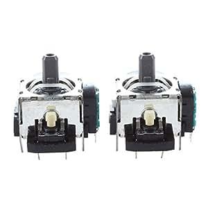 SODIAL(R) 2 x Pin Metal Plastique Manette de jeu Noir Vert pour PS3