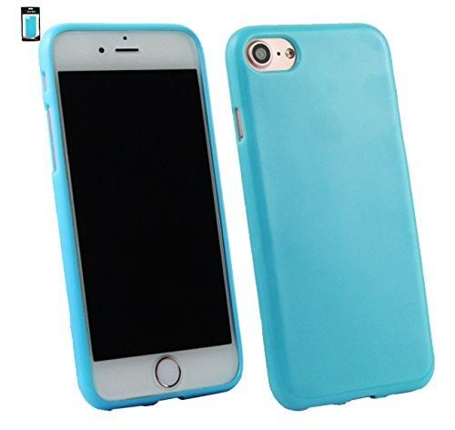 Emartbuy® Apple iPhone 7 Matt Gel TPU Etui Coque Case Cover Pack of 3 - Noir, Clair E Blue Bleu Gloss Gel