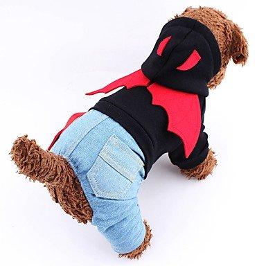 Hunde Kostüme Overall Hundekleidung Winter Frühling/Herbst Engel & Teufel Niedlich Cosplay Halloween Schwarz Rot , (Gruppe Engel Kostüme Teufel Und)