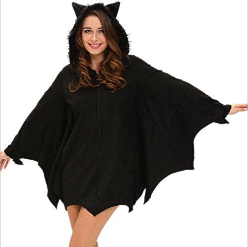emmarcon Tuta Costume da Carnevale Halloween Pipistrello Travestimento Vestito Cosplay Festa, per Bambina e Adulto-Black-L(Altezza 150-160cm)