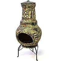 Nexos Terrassenofen Gartenkamin Terracotta 73 cm Gartenofen Stahlgestell Feueröffnung 20,5 x 13 cm robust 15 kg Abdeckung Gartenfeuer Terrassenfeuer