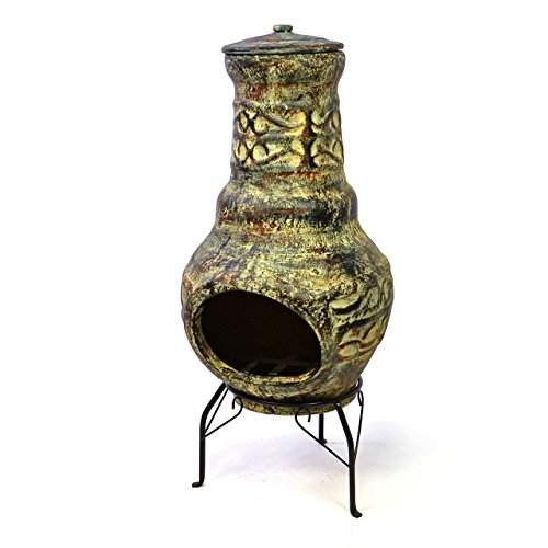 garten kaminofen Nexos Terrassenofen Gartenkamin Terracotta 73 cm Gartenofen Stahlgestell Feueröffnung 20,5 x 13 cm robust 15 kg Abdeckung Gartenfeuer Terrassenfeuer