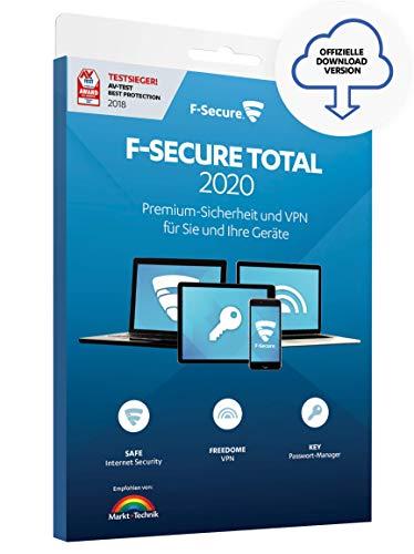 F-Secure TOTAL 2020 Security und VPN - 1 Jahr / 3 Geräte für Multi-Plattform (PC, Mac, Android und iOS) [Online Code]