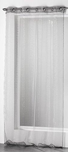 Douceur D'Intérieur  – 1623242, Gardine Mit Osen , 140 X 240 Cm , Silvery , Organza Fäden Silber , Grau