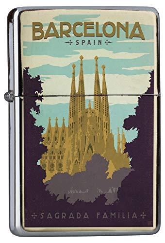 Preisvergleich Produktbild LEotiE SINCE 2004 Chrom Sturm Feuerzeug Benzinfeuerzeug aus Metall Aufladbar Winddicht für Küche Grill Zigaretten Kerzen Bedruckt Reisen Küche Barcelona Spanien Sagrada Familia