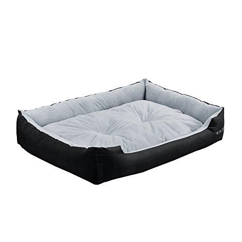 [en.casa]®] Cama para Mascotas - Cama para Perros - con cojín Reversible - Tejido Oxford/Algodón-PP - 90 x 70 x 20 cm [XL] - Negro/Gris