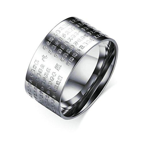 Team Chinese Box (Daesar Edelstahl Ring Chinese Words Buddhistische Texts Ring Herren Ringe Größe:62 (19.7))